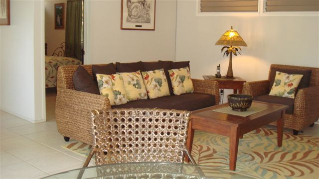Relax in living room in Kailua cottage