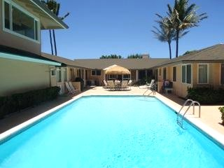 Pool at Kailua beachfront rental